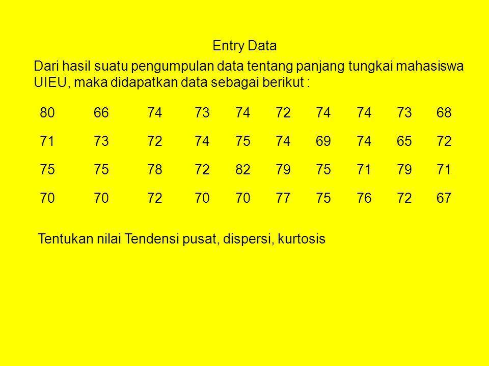 Entry Data Dari hasil suatu pengumpulan data tentang panjang tungkai mahasiswa UIEU, maka didapatkan data sebagai berikut : 80667473747274 7368 717372