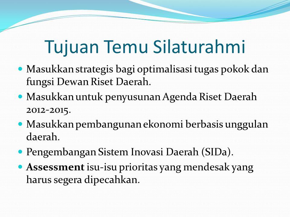 Tujuan Temu Silaturahmi Masukkan strategis bagi optimalisasi tugas pokok dan fungsi Dewan Riset Daerah. Masukkan untuk penyusunan Agenda Riset Daerah