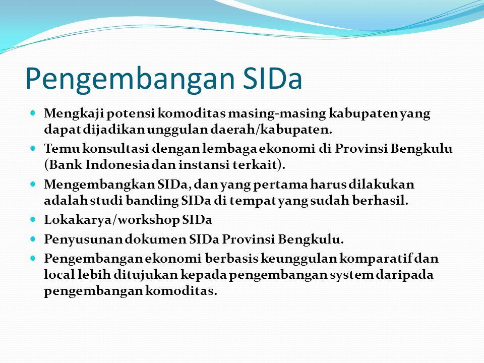 Pengembangan SIDa Mengkaji potensi komoditas masing-masing kabupaten yang dapat dijadikan unggulan daerah/kabupaten. Temu konsultasi dengan lembaga ek