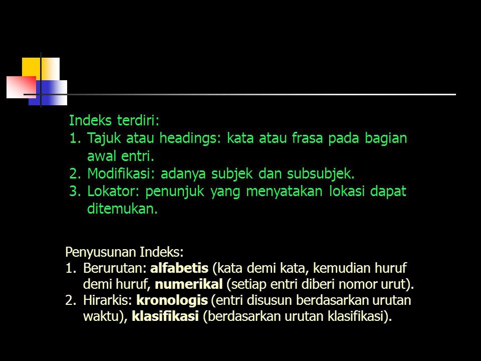 Indeks terdiri: 1.Tajuk atau headings: kata atau frasa pada bagian awal entri. 2.Modifikasi: adanya subjek dan subsubjek. 3.Lokator: penunjuk yang men