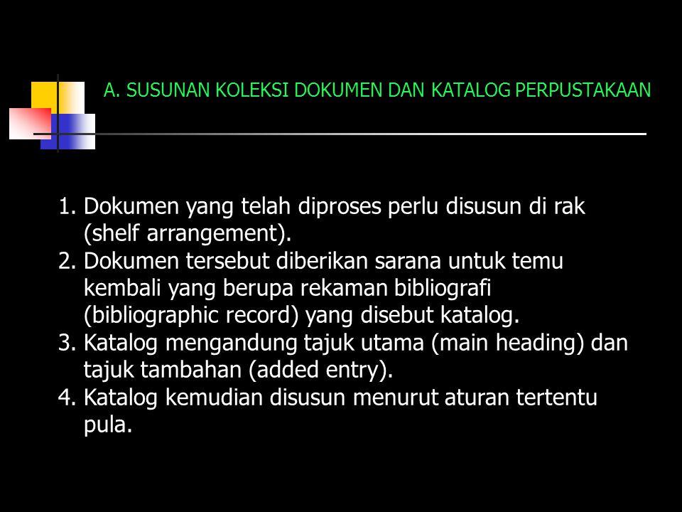 A. SUSUNAN KOLEKSI DOKUMEN DAN KATALOG PERPUSTAKAAN 1.Dokumen yang telah diproses perlu disusun di rak (shelf arrangement). 2.Dokumen tersebut diberik