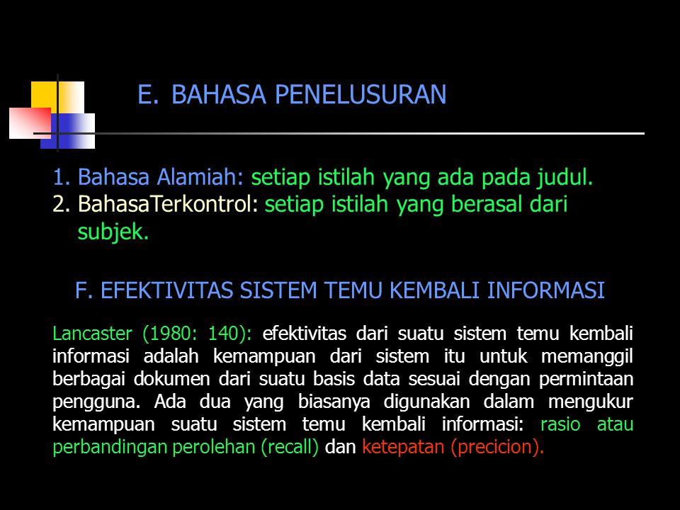 E. BAHASA PENELUSURAN 1.Bahasa Alamiah: setiap istilah yang ada pada judul. 2.BahasaTerkontrol: setiap istilah yang berasal dari subjek. F.EFEKTIVITAS