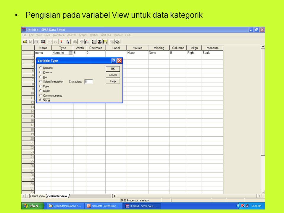 Pengisian pada variabel View untuk data kategorik