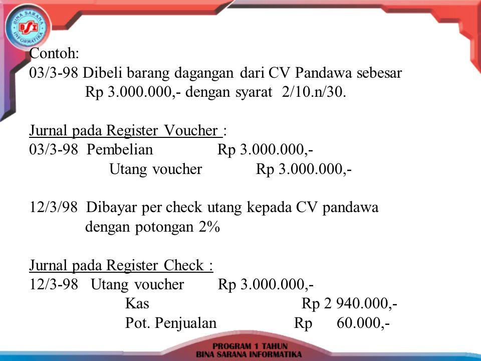 Contoh: 03/3-98 Dibeli barang dagangan dari CV Pandawa sebesar Rp 3.000.000,- dengan syarat 2/10.n/30. Jurnal pada Register Voucher : 03/3-98 Pembelia