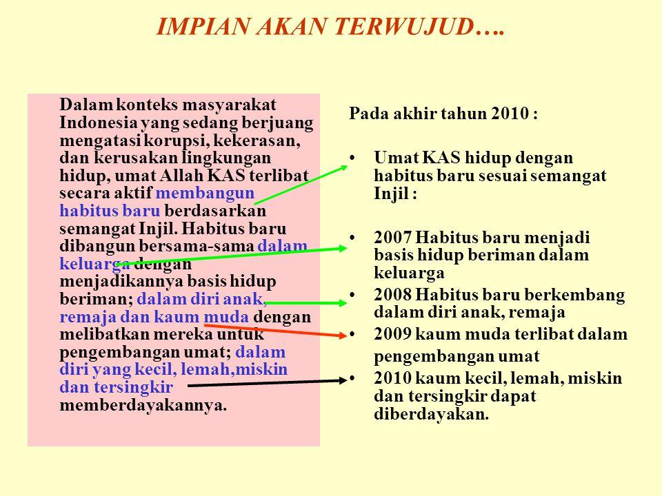 Dalam konteks masyarakat Indonesia yang sedang berjuang mengatasi korupsi, kekerasan, dan kerusakan lingkungan hidup, umat Allah KAS terlibat secara aktif membangun habitus baru berdasarkan semangat Injil.