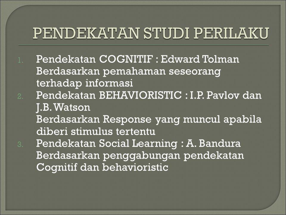 1. Pendekatan COGNITIF : Edward Tolman Berdasarkan pemahaman seseorang terhadap informasi 2. Pendekatan BEHAVIORISTIC : I.P. Pavlov dan J.B. Watson Be