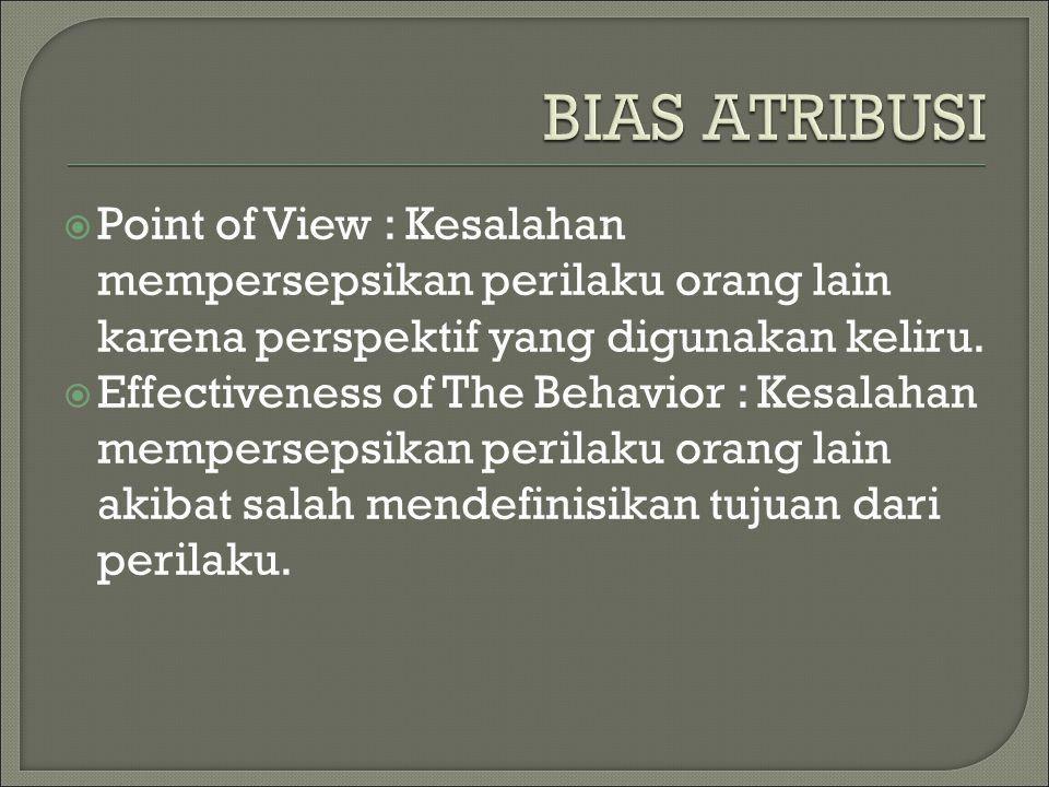  Point of View : Kesalahan mempersepsikan perilaku orang lain karena perspektif yang digunakan keliru.  Effectiveness of The Behavior : Kesalahan me