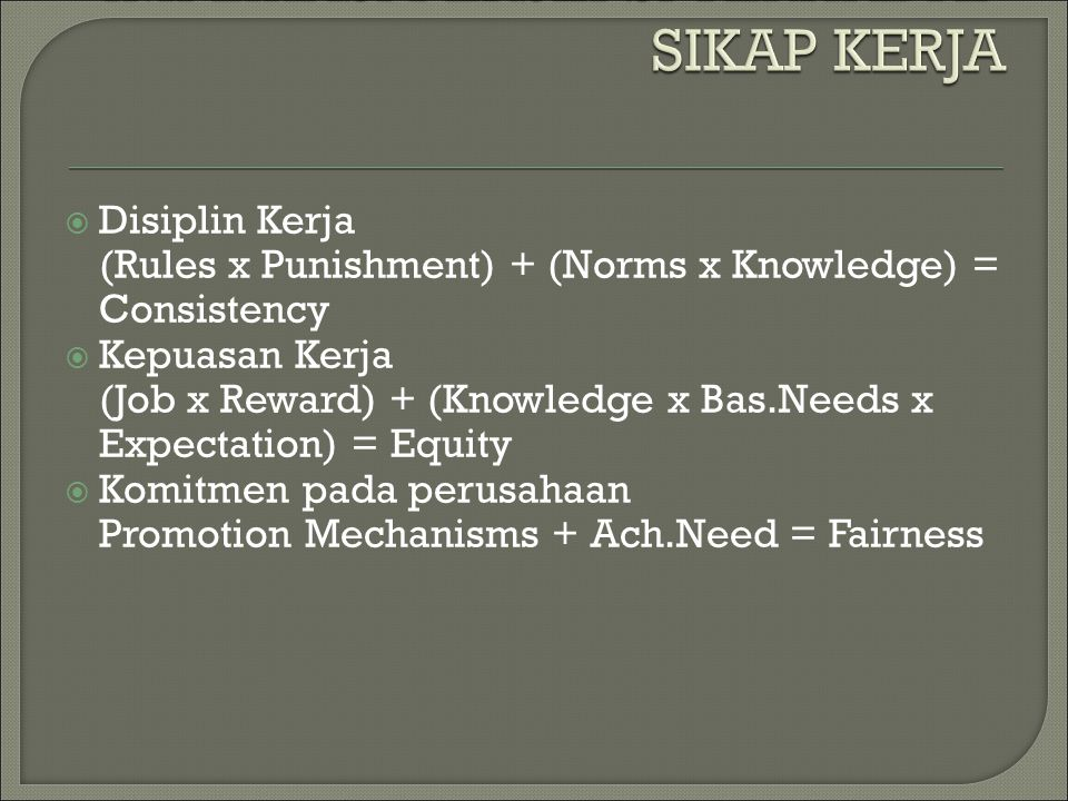  Disiplin Kerja (Rules x Punishment) + (Norms x Knowledge) = Consistency  Kepuasan Kerja (Job x Reward) + (Knowledge x Bas.Needs x Expectation) = Equity  Komitmen pada perusahaan Promotion Mechanisms + Ach.Need = Fairness