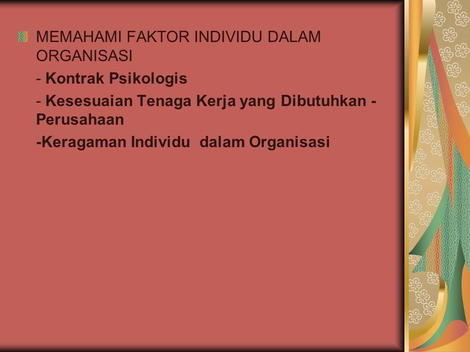 MEMAHAMI FAKTOR INDIVIDU DALAM ORGANISASI - Kontrak Psikologis - Kesesuaian Tenaga Kerja yang Dibutuhkan - Perusahaan -Keragaman Individu dalam Organi