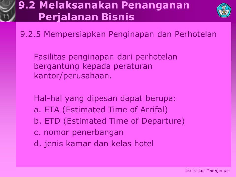 Bisnis dan Manajemen 9.2 Melaksanakan Penanganan Perjalanan Bisnis 9.2.5Mempersiapkan Penginapan dan Perhotelan Fasilitas penginapan dari perhotelan b