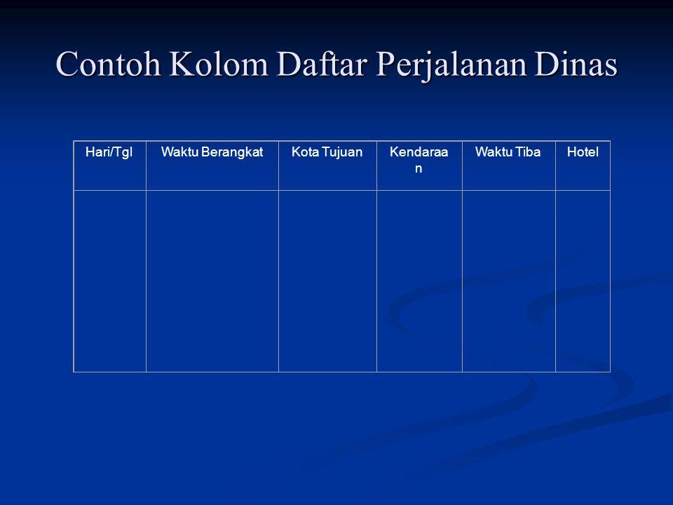 Contoh Kolom Daftar Perjalanan Dinas Hari/TglWaktu BerangkatKota TujuanKendaraa n Waktu TibaHotel