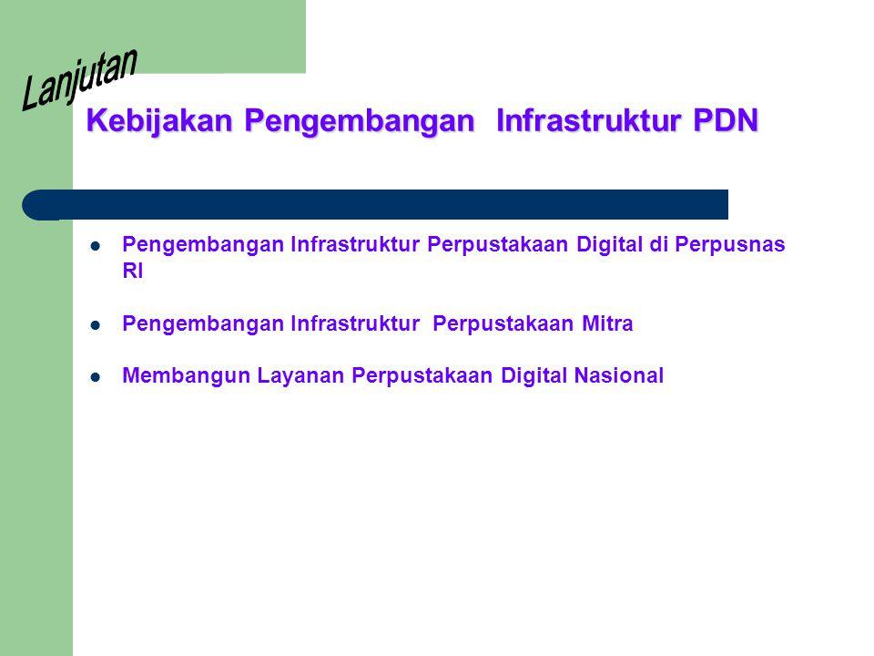 Kebijakan Pengembangan Infrastruktur PDN Pengembangan Infrastruktur Perpustakaan Digital di Perpusnas RI Pengembangan Infrastruktur Perpustakaan Mitra