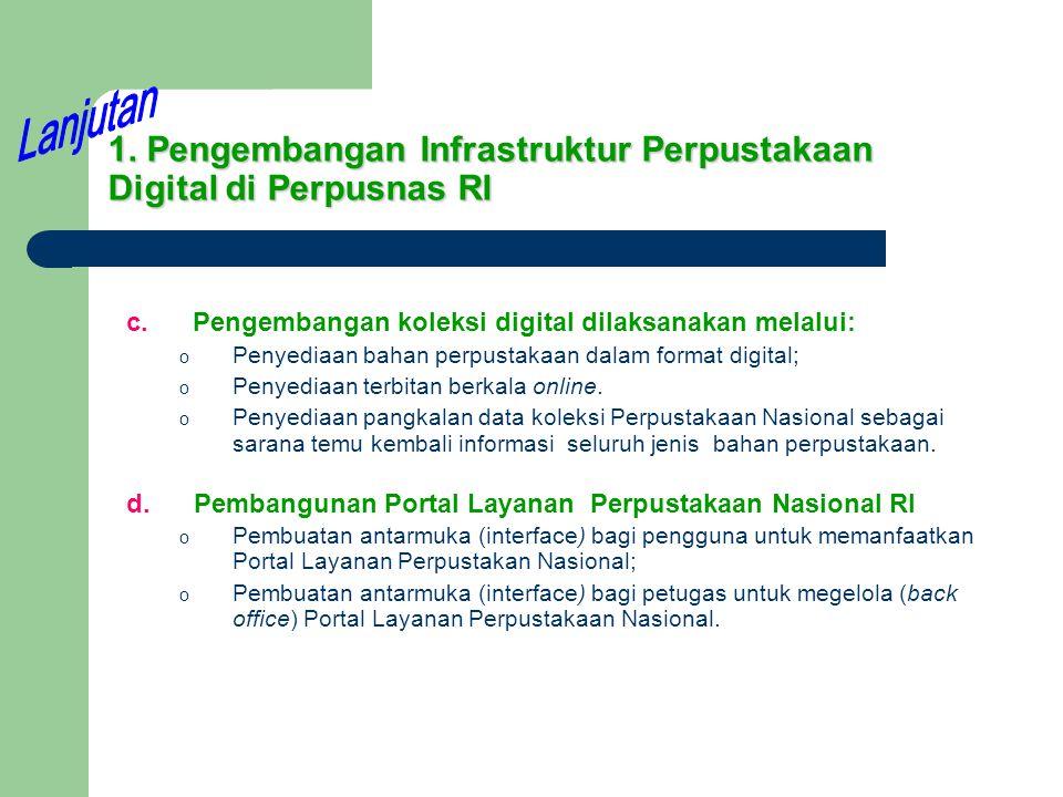 1. Pengembangan Infrastruktur Perpustakaan Digital di Perpusnas RI c. Pengembangan koleksi digital dilaksanakan melalui: o Penyediaan bahan perpustaka