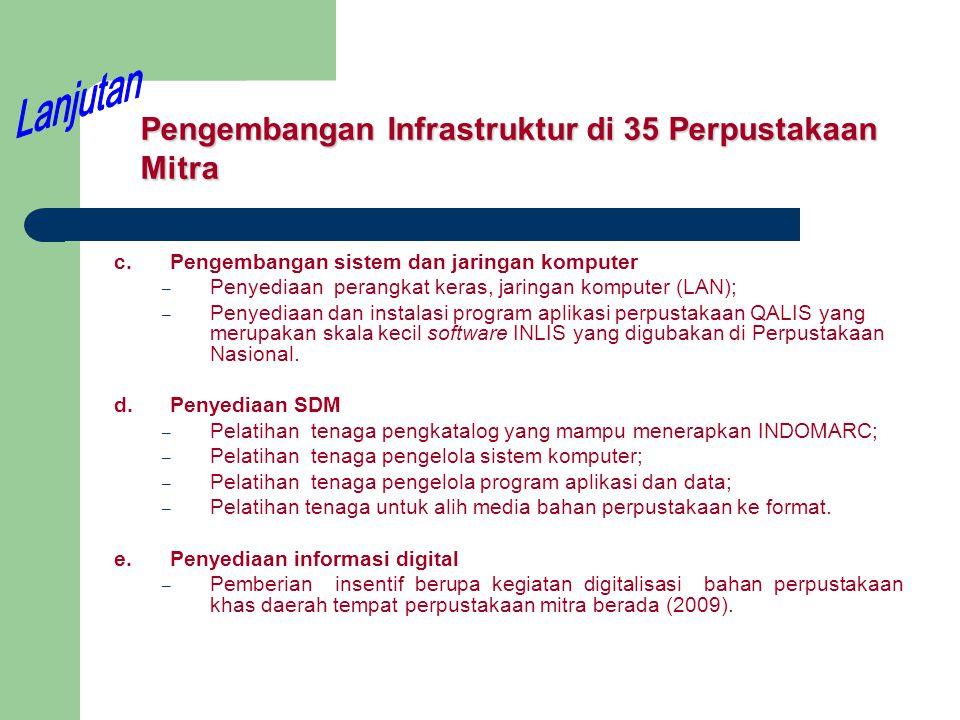 Pengembangan Infrastruktur di 35 Perpustakaan Mitra c.Pengembangan sistem dan jaringan komputer – Penyediaan perangkat keras, jaringan komputer (LAN);