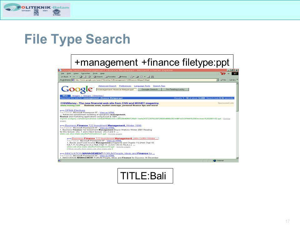 17 File Type Search +management +finance filetype:ppt TITLE:Bali