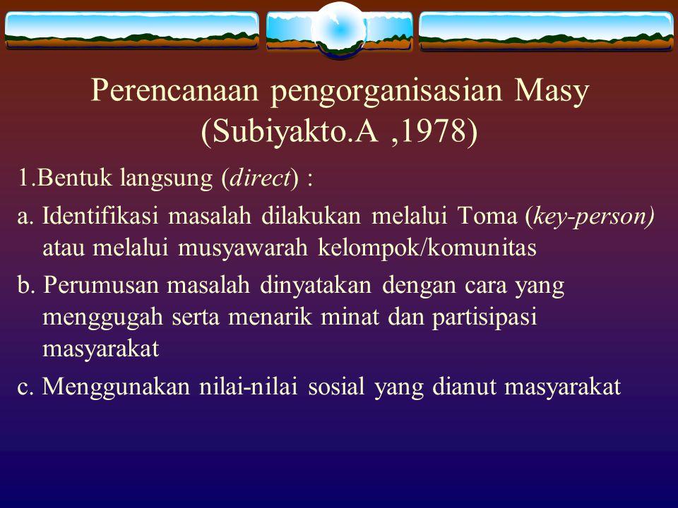 Perencanaan pengorganisasian Masy (Subiyakto.A,1978) 1.Bentuk langsung (direct) : a. Identifikasi masalah dilakukan melalui Toma (key-person) atau mel