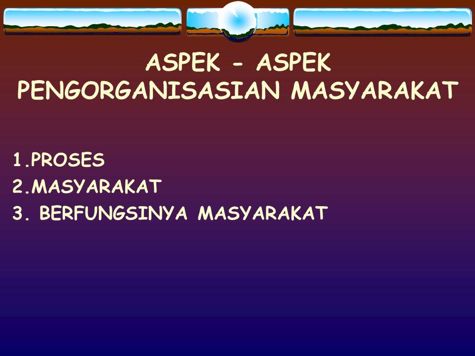 ASPEK - ASPEK PENGORGANISASIAN MASYARAKAT 1.PROSES 2.MASYARAKAT 3. BERFUNGSINYA MASYARAKAT