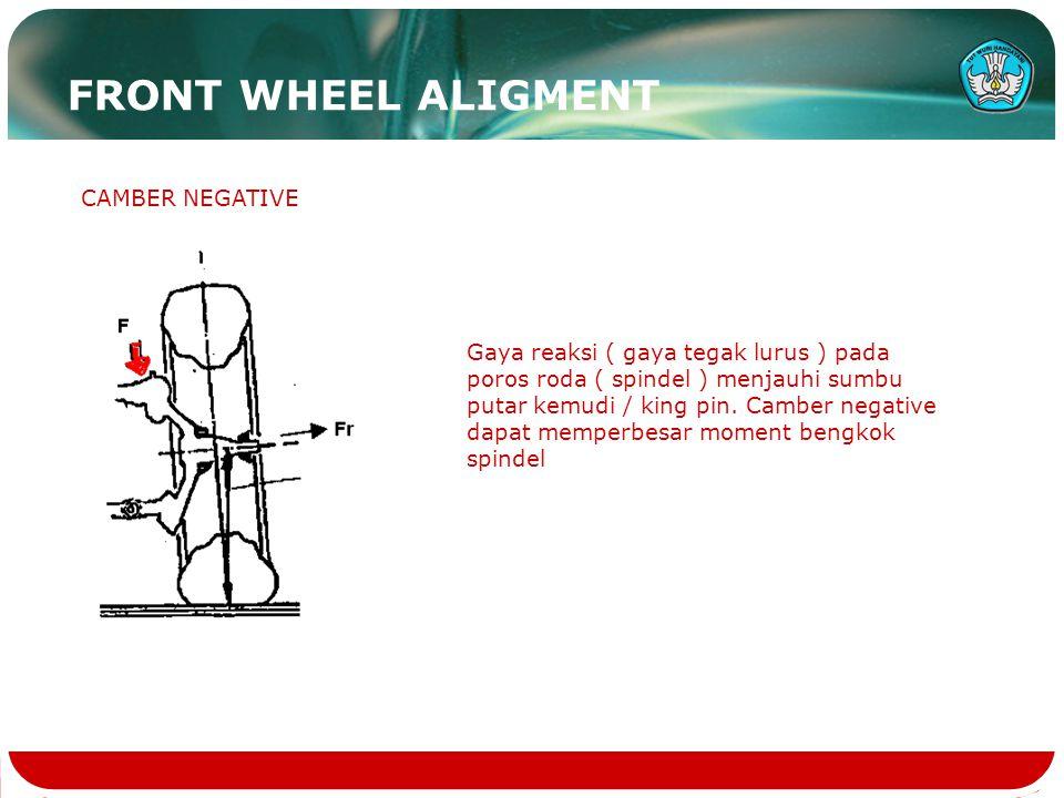 CAMBER NEGATIVE Gaya reaksi ( gaya tegak lurus ) pada poros roda ( spindel ) menjauhi sumbu putar kemudi / king pin. Camber negative dapat memperbesar