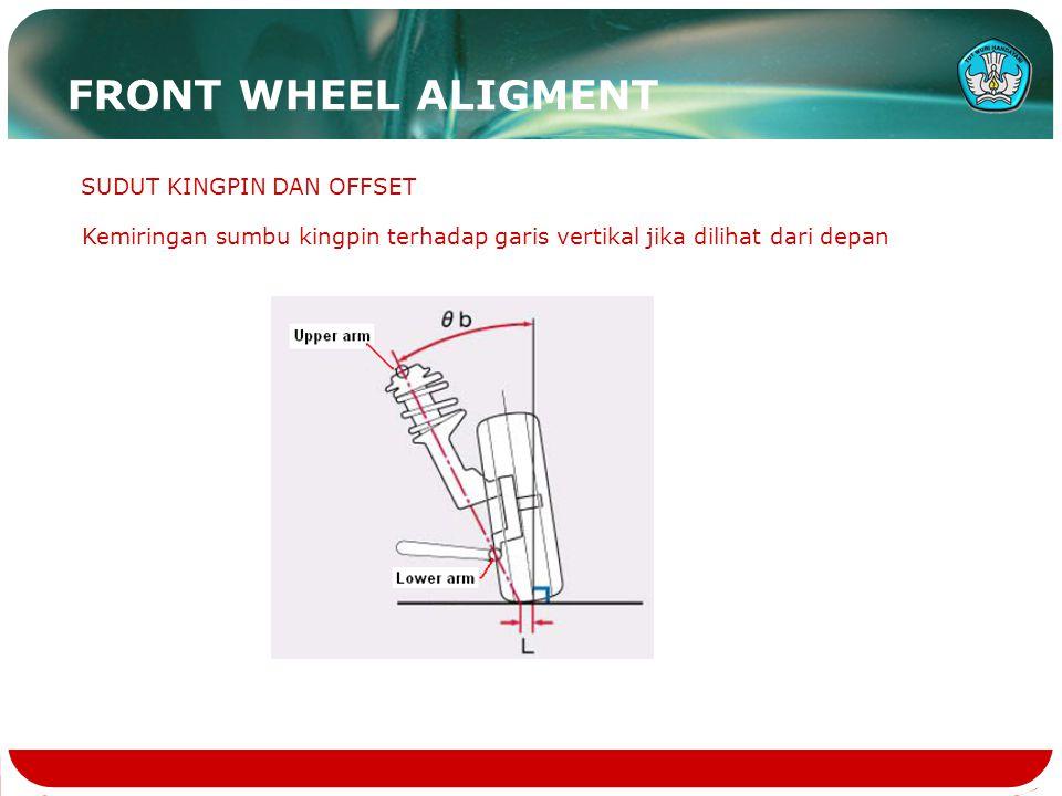 SUDUT KINGPIN DAN OFFSET Kemiringan sumbu kingpin terhadap garis vertikal jika dilihat dari depan FRONT WHEEL ALIGMENT
