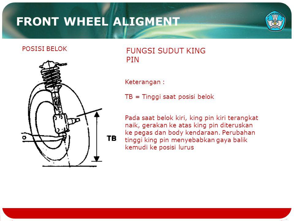 FUNGSI SUDUT KING PIN POSISI BELOK Keterangan : TB = Tinggi saat posisi belok Pada saat belok kiri, king pin kiri terangkat naik, gerakan ke atas king