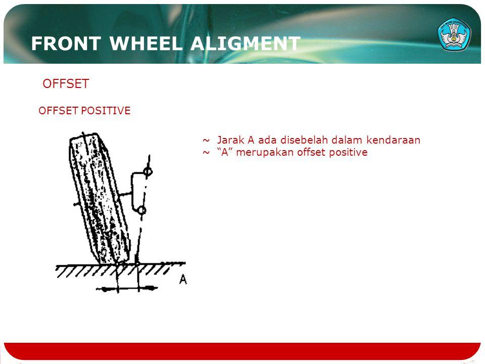 "OFFSET POSITIVE OFFSET ~ Jarak A ada disebelah dalam kendaraan ~ ""A"" merupakan offset positive FRONT WHEEL ALIGMENT"