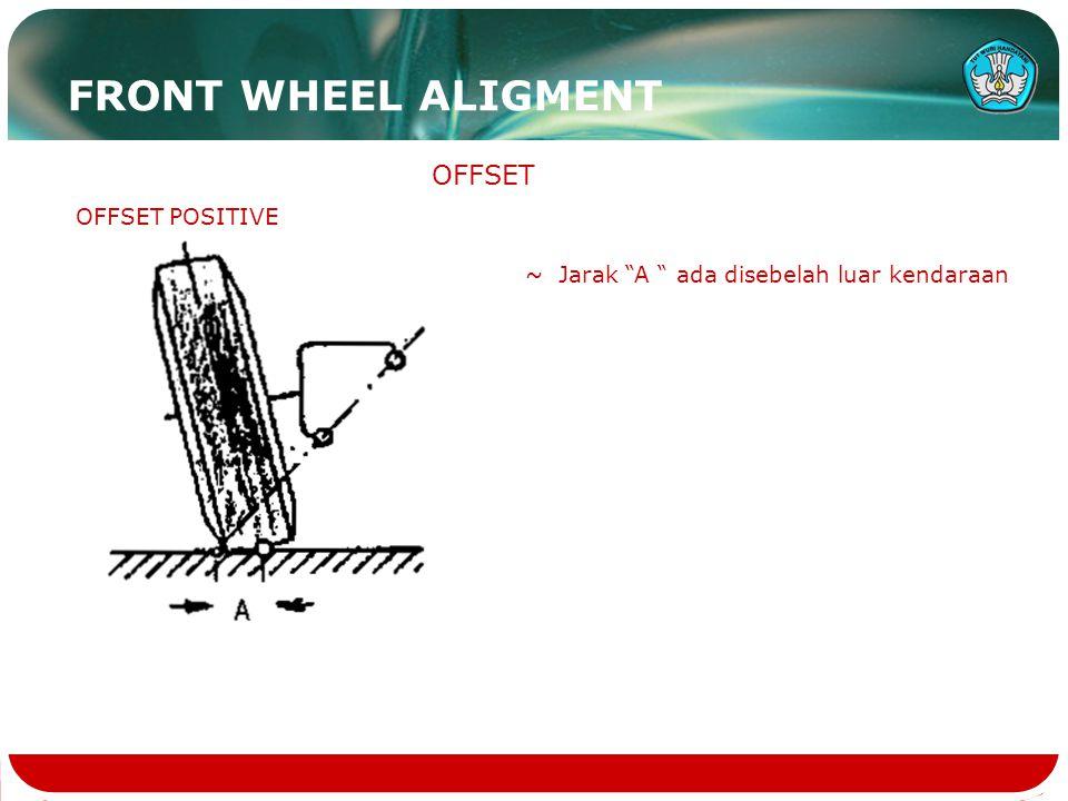 "OFFSET OFFSET POSITIVE ~ Jarak ""A "" ada disebelah luar kendaraan FRONT WHEEL ALIGMENT"