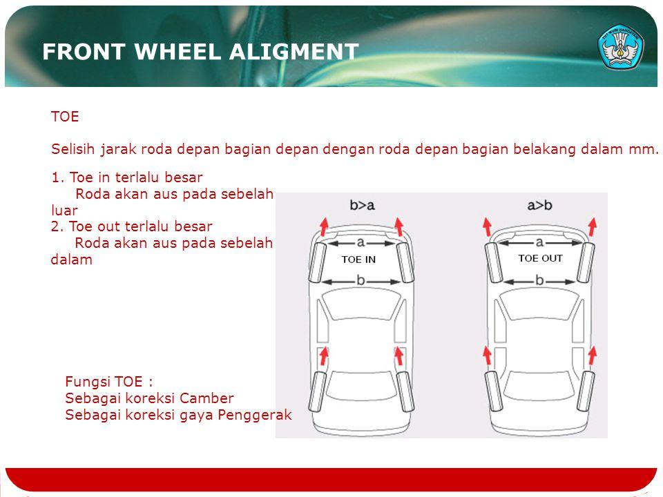 FRONT WHEEL ALIGMENT TOE Selisih jarak roda depan bagian depan dengan roda depan bagian belakang dalam mm. 1. Toe in terlalu besar Roda akan aus pada