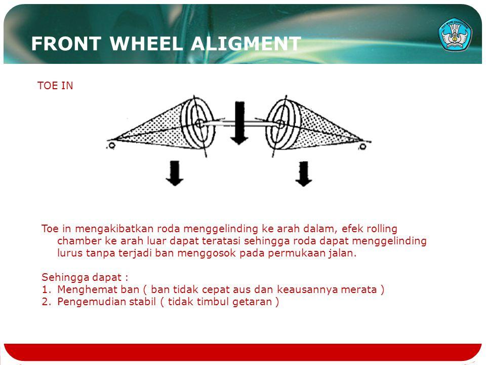 FRONT WHEEL ALIGMENT TOE IN Toe in mengakibatkan roda menggelinding ke arah dalam, efek rolling chamber ke arah luar dapat teratasi sehingga roda dapa