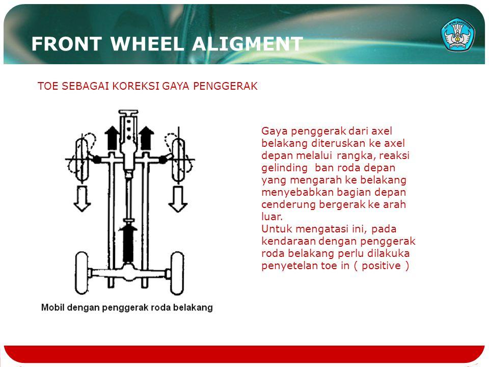TOE SEBAGAI KOREKSI GAYA PENGGERAK Gaya penggerak dari axel belakang diteruskan ke axel depan melalui rangka, reaksi gelinding ban roda depan yang men