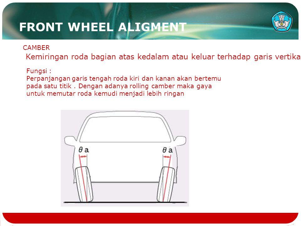 CAMBER Kemiringan roda bagian atas kedalam atau keluar terhadap garis vertikal Fungsi : Perpanjangan garis tengah roda kiri dan kanan akan bertemu pad