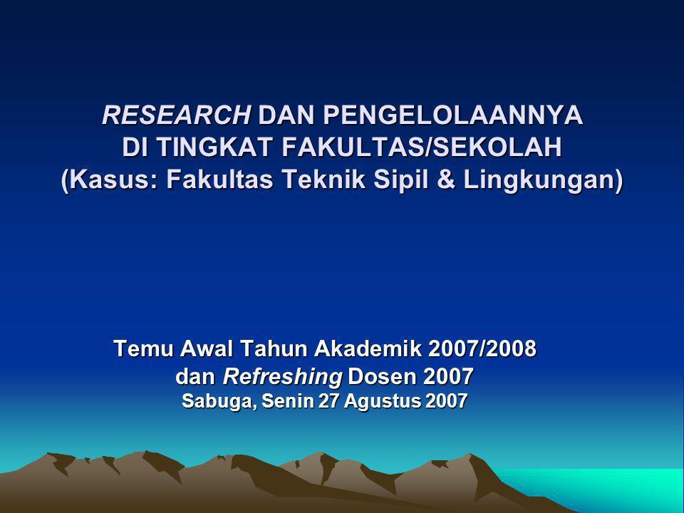 RESEARCH DAN PENGELOLAANNYA DI TINGKAT FAKULTAS/SEKOLAH (Kasus: Fakultas Teknik Sipil & Lingkungan) RESEARCH DAN PENGELOLAANNYA DI TINGKAT FAKULTAS/SE