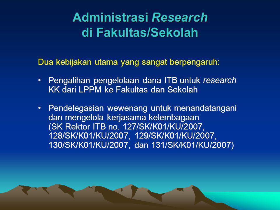 Administrasi Research di Fakultas/Sekolah Dua kebijakan utama yang sangat berpengaruh: Pengalihan pengelolaan dana ITB untuk research KK dari LPPM ke