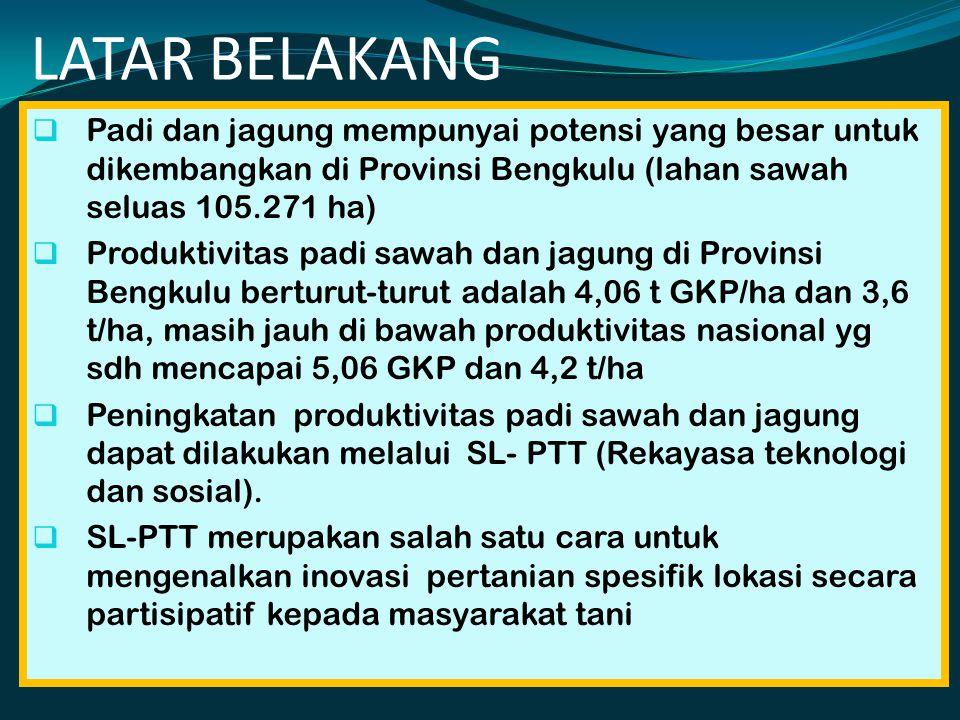 LATAR BELAKANG  Padi dan jagung mempunyai potensi yang besar untuk dikembangkan di Provinsi Bengkulu (lahan sawah seluas 105.271 ha)  Produktivitas padi sawah dan jagung di Provinsi Bengkulu berturut-turut adalah 4,06 t GKP/ha dan 3,6 t/ha, masih jauh di bawah produktivitas nasional yg sdh mencapai 5,06 GKP dan 4,2 t/ha  Peningkatan produktivitas padi sawah dan jagung dapat dilakukan melalui SL- PTT (Rekayasa teknologi dan sosial).
