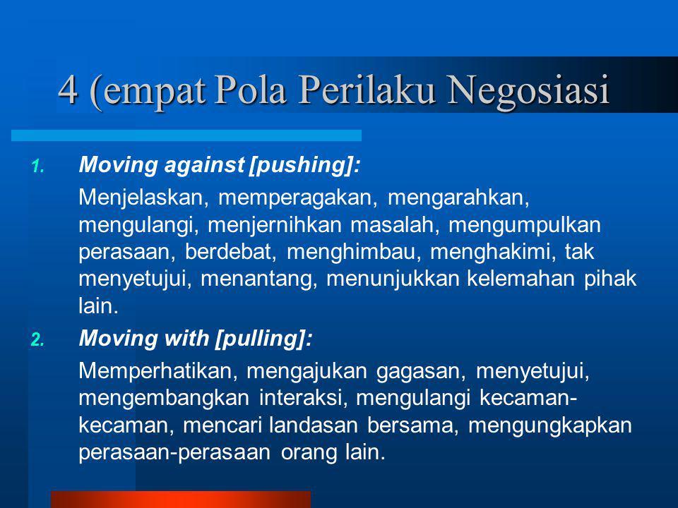 4 (empat Pola Perilaku Negosiasi 1. Moving against [pushing]: Menjelaskan, memperagakan, mengarahkan, mengulangi, menjernihkan masalah, mengumpulkan p