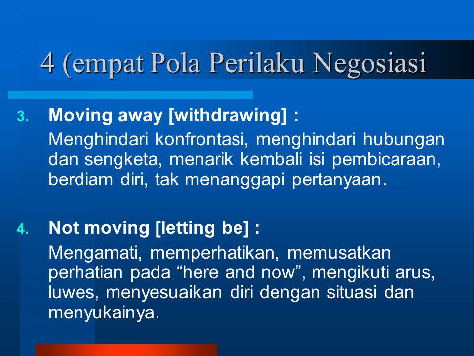 4 (empat Pola Perilaku Negosiasi 3. Moving away [withdrawing] : Menghindari konfrontasi, menghindari hubungan dan sengketa, menarik kembali isi pembic