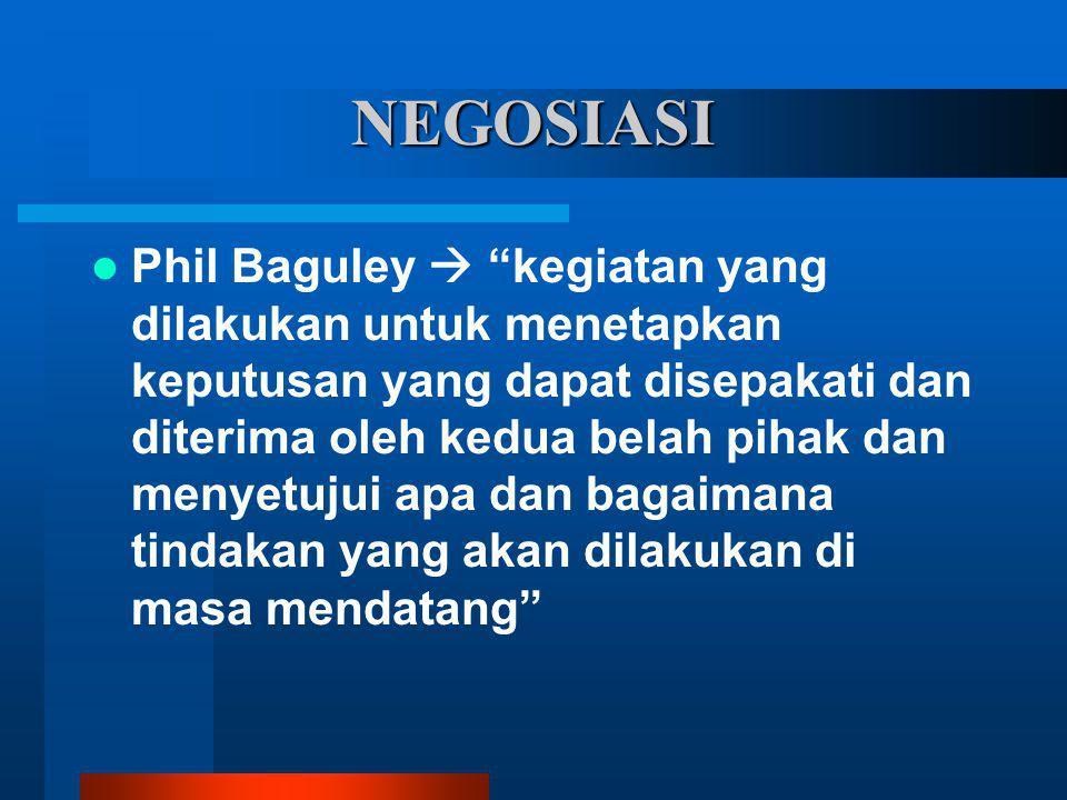 """NEGOSIASI Phil Baguley  """"kegiatan yang dilakukan untuk menetapkan keputusan yang dapat disepakati dan diterima oleh kedua belah pihak dan menyetujui"""