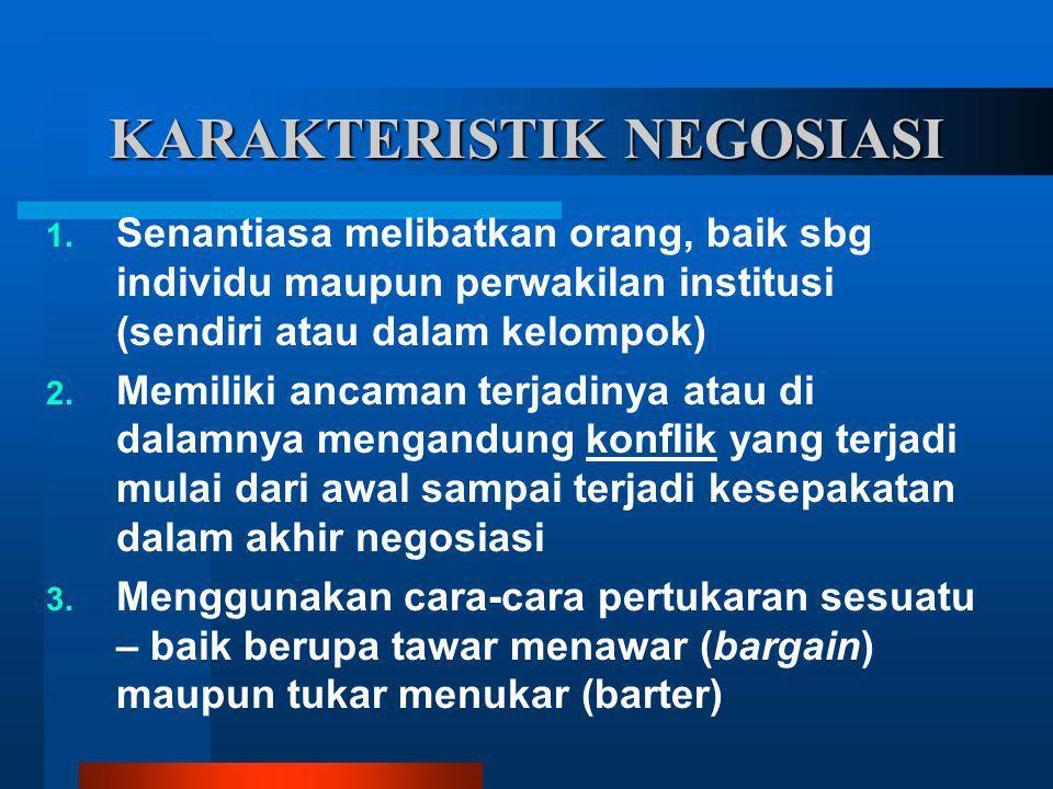 KARAKTERISTIK NEGOSIASI 1. Senantiasa melibatkan orang, baik sbg individu maupun perwakilan institusi (sendiri atau dalam kelompok) 2. Memiliki ancama