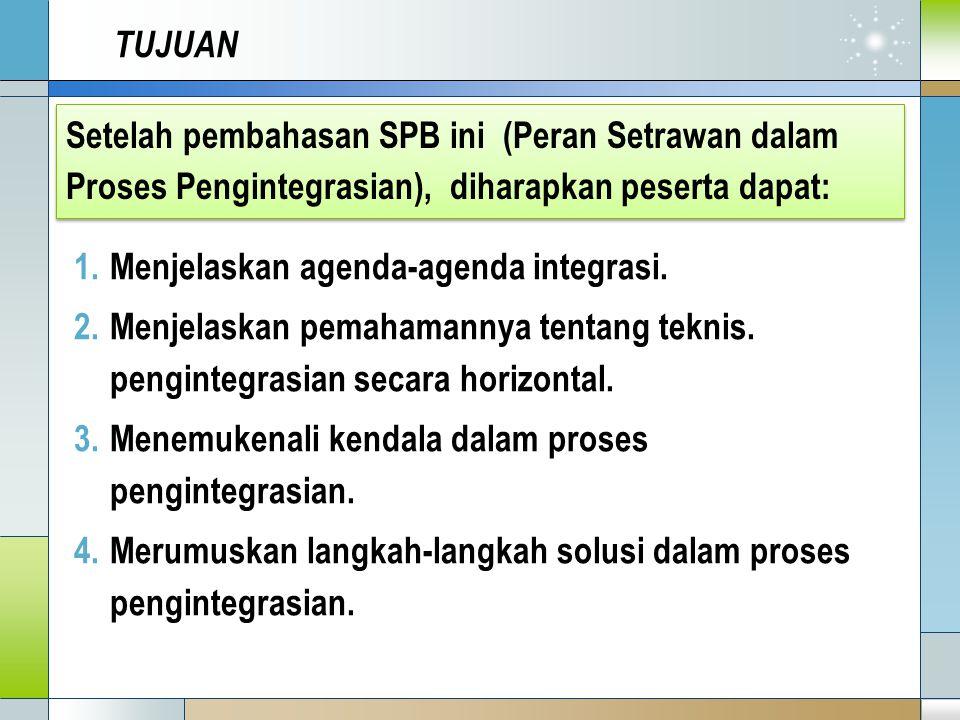 TUJUAN 1.Menjelaskan agenda-agenda integrasi. 2.Menjelaskan pemahamannya tentang teknis.