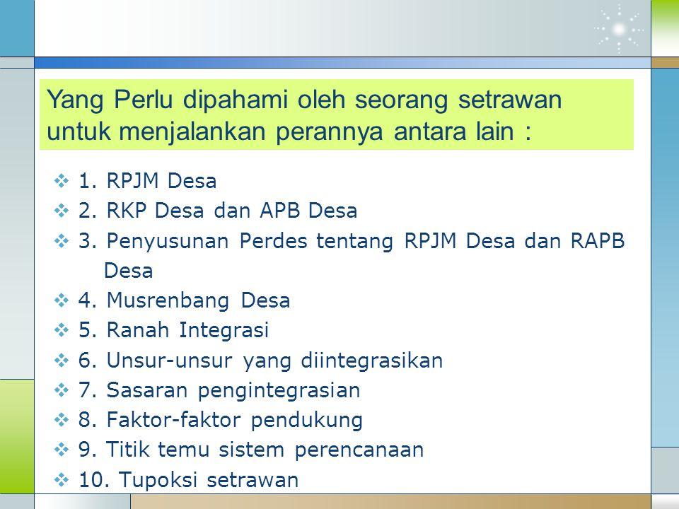  1. RPJM Desa  2. RKP Desa dan APB Desa  3.