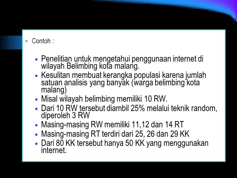 Contoh : Penelitian untuk mengetahui penggunaan internet di wilayah Belimbing kota malang. Kesulitan membuat kerangka populasi karena jumlah satuan an