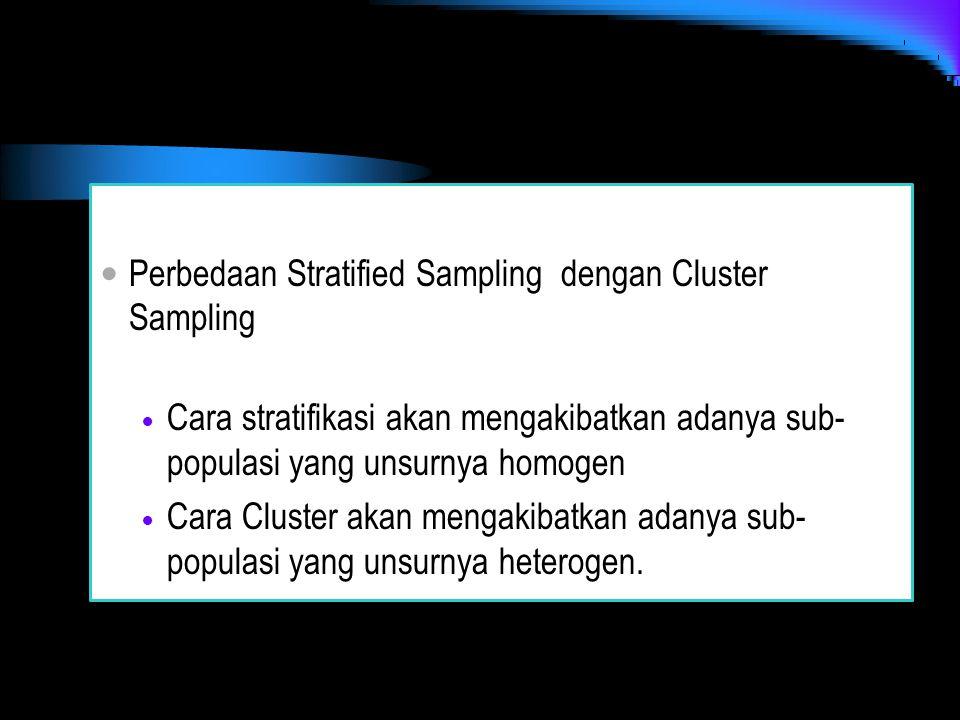 Perbedaan Stratified Sampling dengan Cluster Sampling Cara stratifikasi akan mengakibatkan adanya sub- populasi yang unsurnya homogen Cara Cluster aka