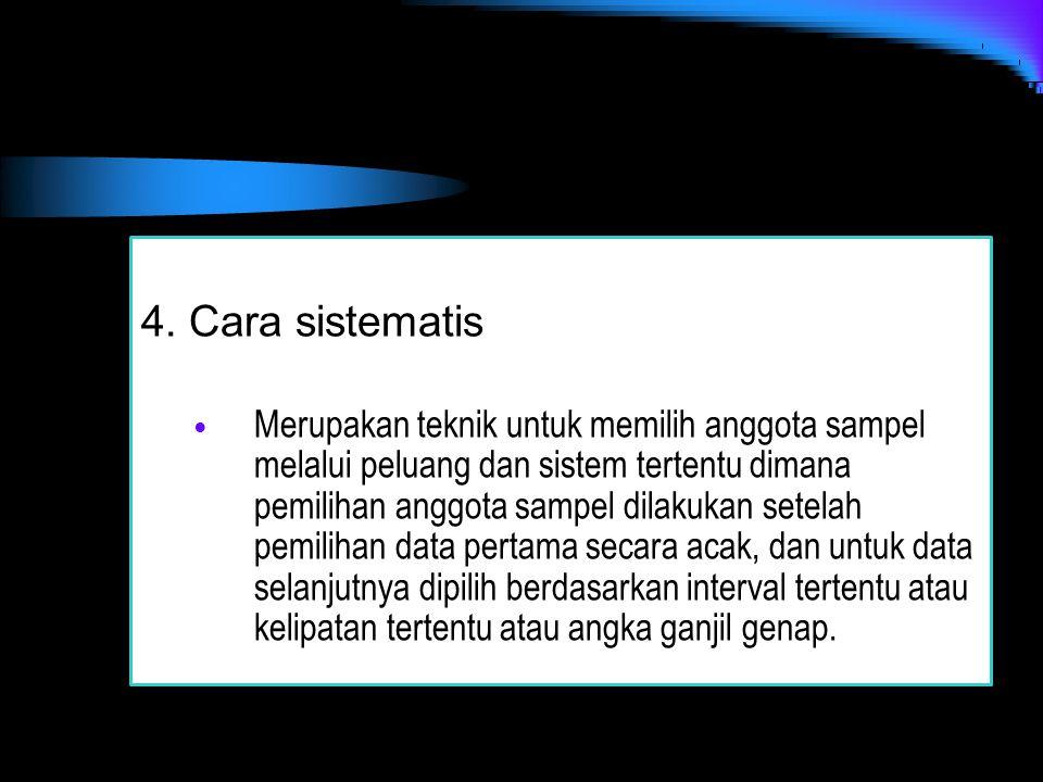 4. Cara sistematis Merupakan teknik untuk memilih anggota sampel melalui peluang dan sistem tertentu dimana pemilihan anggota sampel dilakukan setelah