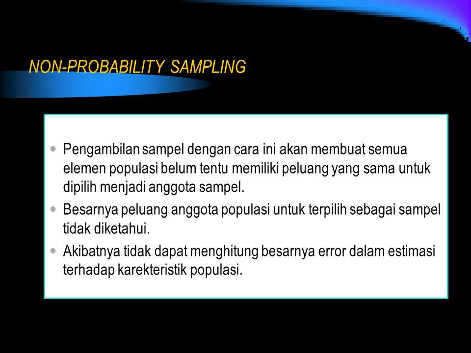 NON-PROBABILITY SAMPLING Pengambilan sampel dengan cara ini akan membuat semua elemen populasi belum tentu memiliki peluang yang sama untuk dipilih me