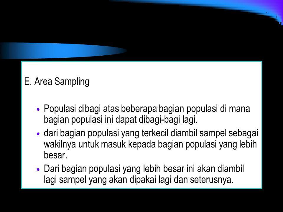 E. Area Sampling Populasi dibagi atas beberapa bagian populasi di mana bagian populasi ini dapat dibagi-bagi lagi. dari bagian populasi yang terkecil