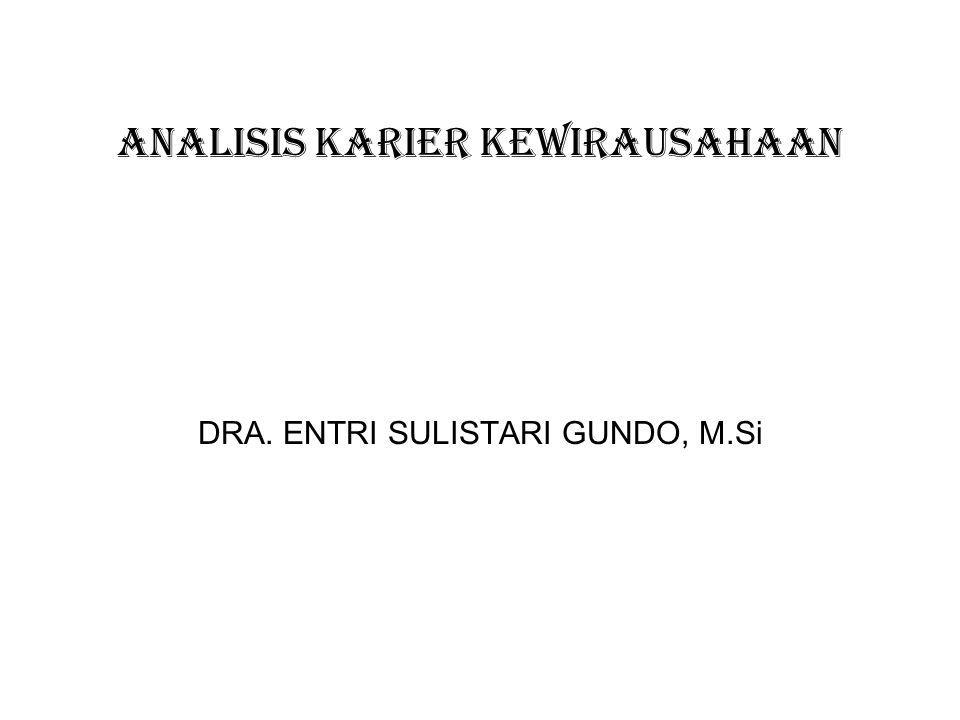 ANALISIS KARIER KEWIRAUSAHAAN DRA. ENTRI SULISTARI GUNDO, M.Si