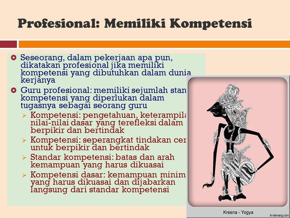 Profesional: Memiliki Kompetensi  Seseorang, dalam pekerjaan apa pun, dikatakan profesional jika memiliki kompetensi yang dibutuhkan dalam dunia kerj