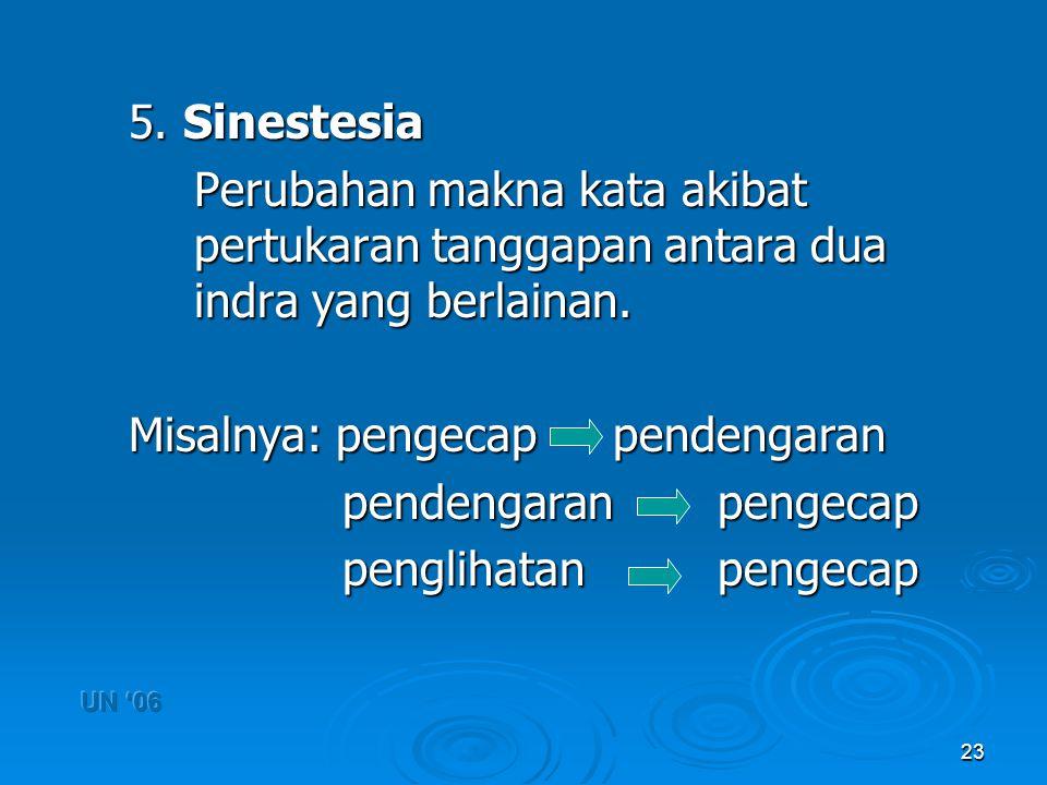 23 5. Sinestesia Perubahan makna kata akibat pertukaran tanggapan antara dua indra yang berlainan. Perubahan makna kata akibat pertukaran tanggapan an