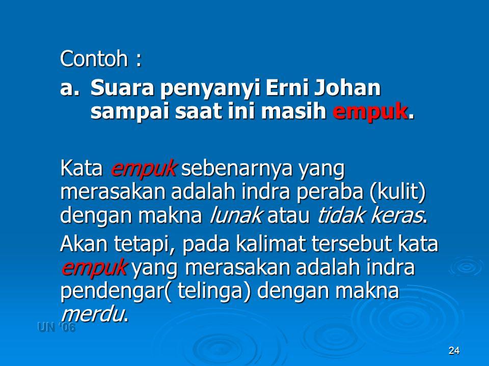 24 Contoh : a. Suara penyanyi Erni Johan sampai saat ini masih empuk. Kata empuk sebenarnya yang merasakan adalah indra peraba (kulit) dengan makna lu