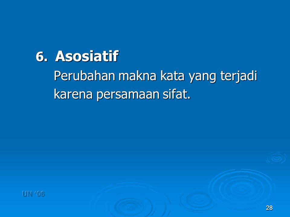 28 6. Asosiatif Perubahan makna kata yang terjadi karena persamaan sifat. karena persamaan sifat.