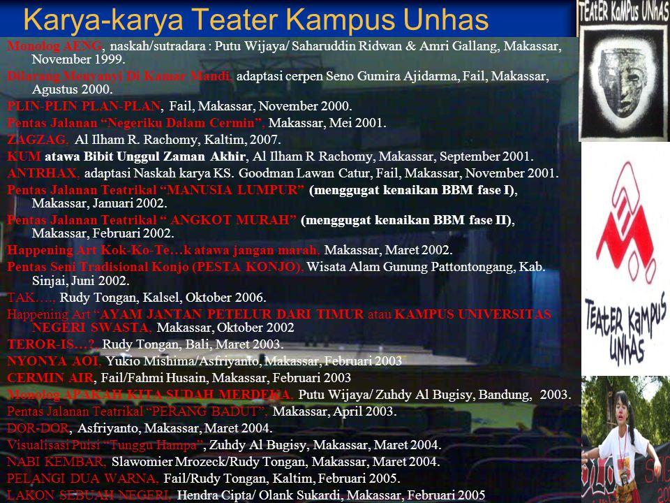 Logo/Lambang Teater Kampus Unhas Lambang Teater Kampus Unhas terdiri dari rangkaian huruf lontara yang menandai ciri khas Bugis – Makassar, dan pencam